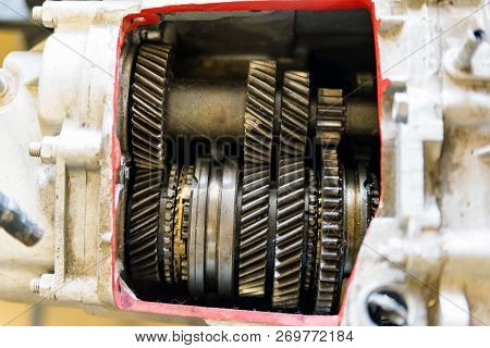 Gear Box Or Transmission With Helical Gears Of Modern Car In Driving School