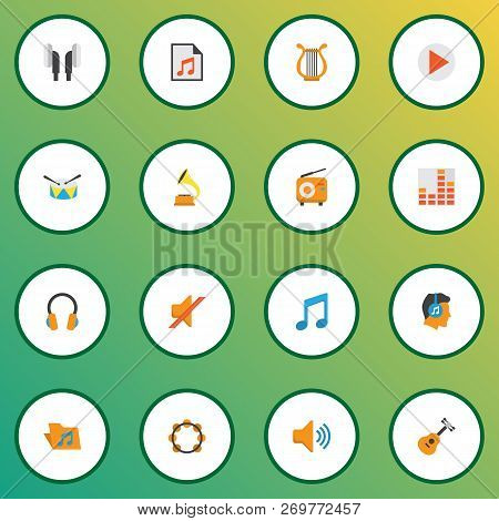 Music Icons Flat Style Set With Play List, Frequency, Earpiece And Other Tone Elements. Isolated Vec