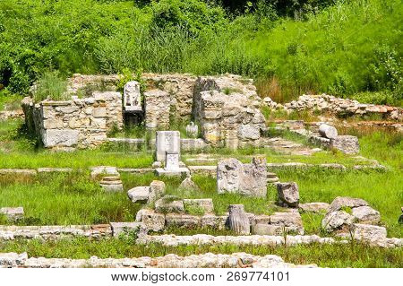 Ancient Greece City Dion. Ruins Of Sanctuary To Zeus. Archaeological Park Of Sacred City Of Macedon.