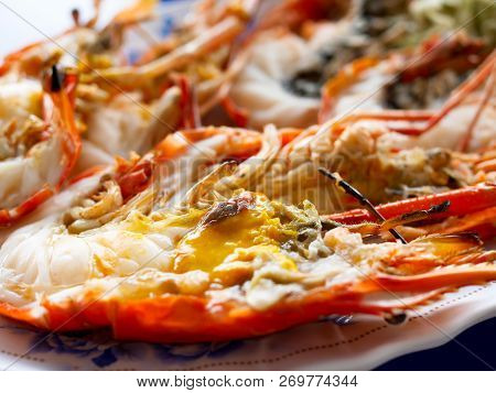 Grilled Giant River Prawns Or Giant Freshwater Prawns On White Plate