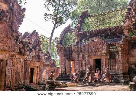 Banteay Srei Temple (ban Tai Srei Temple) Of The Angkor Complex In Cambodia, Asia Which Spectacular