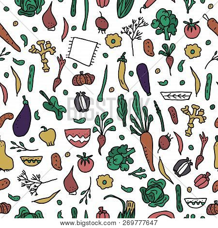 Seamless Pattern Of Vector Vegetables.  Endless Background Of Veg In Doodle Style.