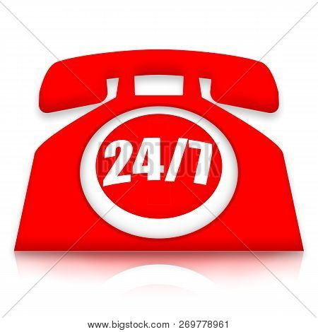 24/7 Red Telephone For Customer Support Or Technical Service