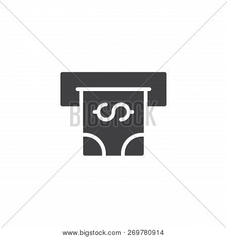 Atm With Cash Money Vector Icon. Filled Flat Sign For Mobile Concept And Web Design. Cash Terminal S