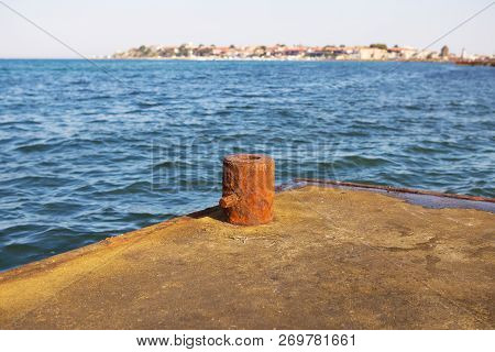 The Pier On The Sea. The Stone Pier For Fishing.