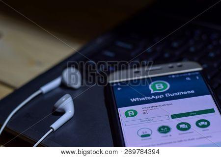 Bekasi, West Java, Indonesia. November 20, 2018 : Whatsapp Business Dev App On Smartphone Screen. Bu