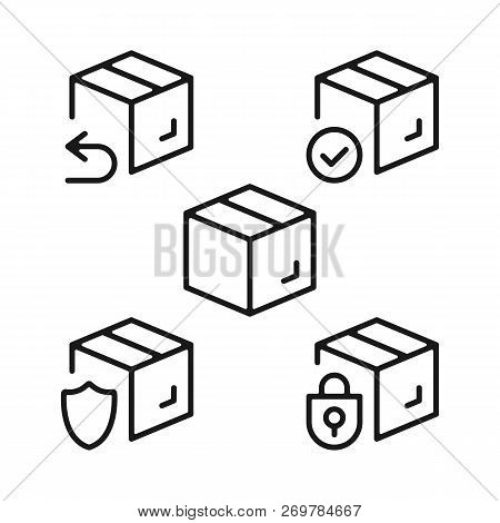 Boxes Line Icons Set. Cardboard Boxes, Parcels, Packages Outline Symbols. Delivery, Shipping, Transp