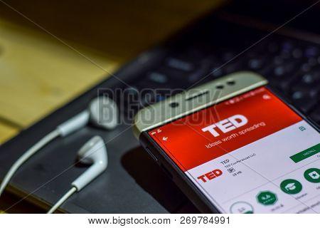 Bekasi, West Java, Indonesia. November 20, 2018 : Ted Dev App On Smartphone Screen. Ted Is A Freewar