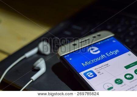 Bekasi, West Java, Indonesia. November 20, 2018 : Microsoft Edge Dev App On Smartphone Screen. Edge