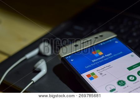 Bekasi, West Java, Indonesia. November 20, 2018 : Microsoft Apps Dev App On Smartphone Screen. Micro