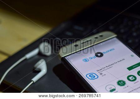 Bekasi, West Java, Indonesia. November 20, 2018 : Skype For Business For Android Dev App On Smartpho