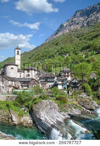 Traditional Village Of Lavertezzo In Valle Verzasca,ticino Canton,switzerland