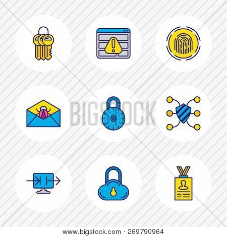 Vector Illustration Of 9 Protection Icons Colored Line. Editable Set Of Strong Password, Access Deni