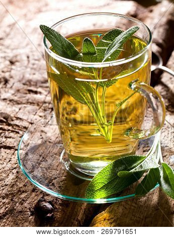 Sage Tea And Sage Leaves. Infusion Made From Sage Leaves. Medicinal Herb Salvia Officinalis
