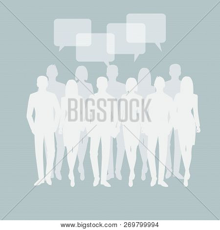 Business Men And Women Silhouette. Team Business People Group Hold Document Folders  On White Backgr