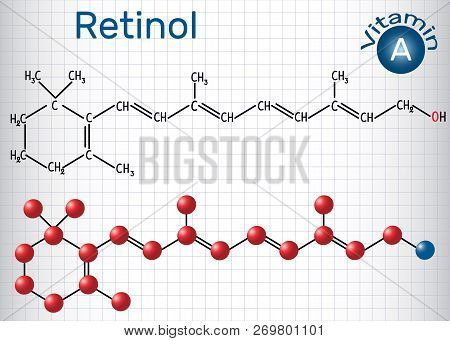 Retinol, Vitamin A, Is In Food And Used As A Dietary Supplement. Structural Chemical Formula And Mol
