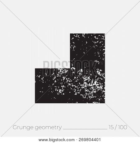 Geometric Simple Shape In Grunge Retro Style