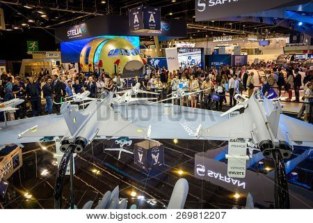 Paris - France - Jun 23, 2017: Visitors Watching The Mock-up Planes At A Stand Of The French Aircraf