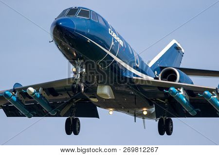 Leeuwarden, Netherlands - April 19, 2018: Dassault Falcon 20 Target Towing Airplane From Cobham Avia