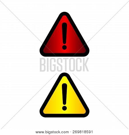 Exclamation Mark Icons. Attention And Caution Signs. Hazard Warning Vector Symbol Isolated Eps10. Il