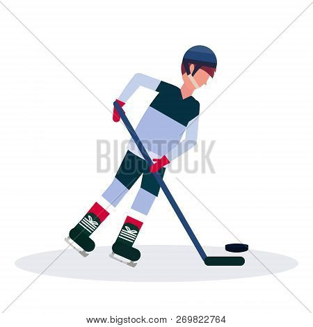 Professional Ice Hockey Player Holding Stick Skating With Pack Male Cartoon Character Full Length Fl