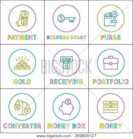 Key To Money Receiving And Business Starting Card Vector Ilration Of Gold Pile Pig Box For Coins Holding Portfolio Currency Converter
