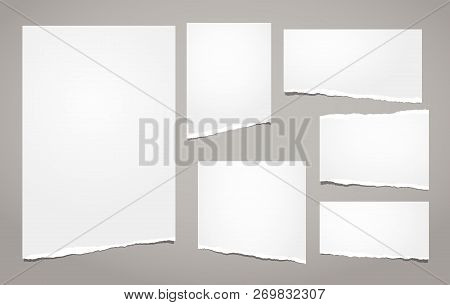 White Ripped Notebook Paper, Torn Note Paper Strips For Text Or Message Are On Brown Background. Vec