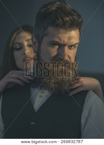 Engaging In Intimate Relations. Bearded Man And Sensual Woman With Fashion Style. Couple In Love. Ma