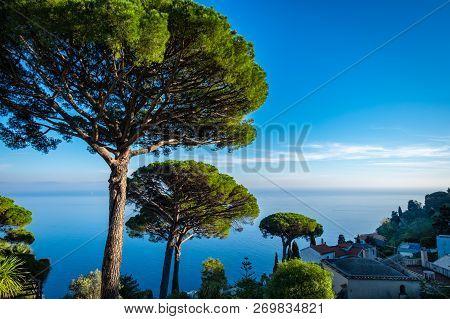 Garden On Mediterranean Coast, Amalfi Coast With Villa Rufolo Gardens In Ravello
