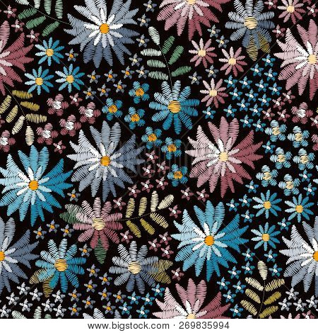 Embroidery Seamless Pattern With Cornflowers And Forget-me-not Flowers On Black Background. Fashion