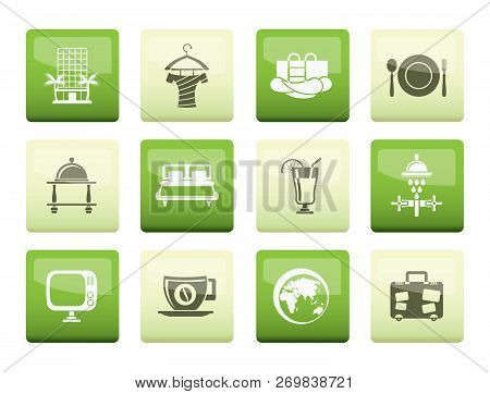 Hotel, Motel And Holidays Icons Over Color Background - Vector Icon Set