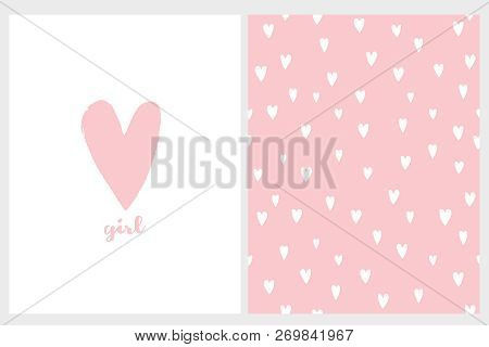 Cute Simple Baby Shower Vector Card And Pattern. Pink Hand Drawn Heart With Girl Text Below. White B