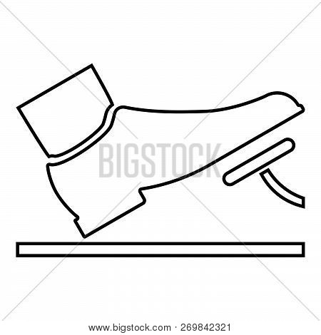 Foot Pushing The Pedal Gas Pedal Brake Pedal Auto Service Concept Icon Black Color Vector Illustrati