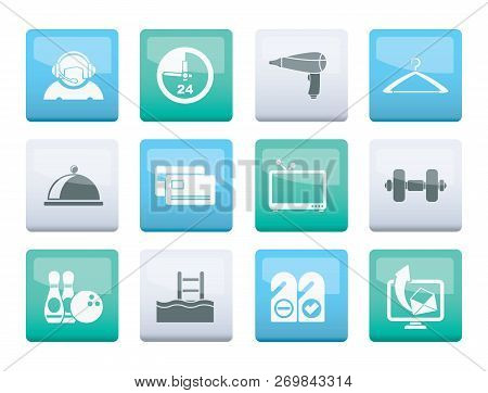 Hotel And Motel Amenity Icons  Over Color Background - Vector Icon Set