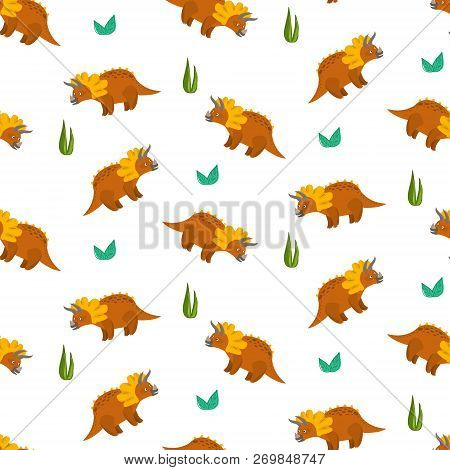 Cute Cartoon Triceratops Seamless Pattern For Kids Textile. Nice Bright Childish Texture With Dino C