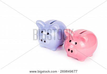 Two Piggy Banks On White Background. Blue Piggy Bank On White Background. Pink Piggy Bank. Copy Spac