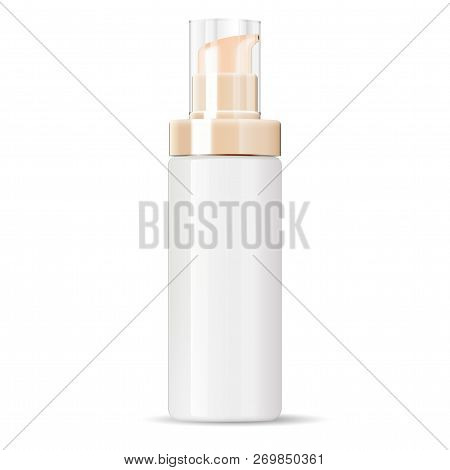 White Cosmetics Cream Dispenser Pump Bottle Container In Realistic Glossy Glass Or Plastic Material.