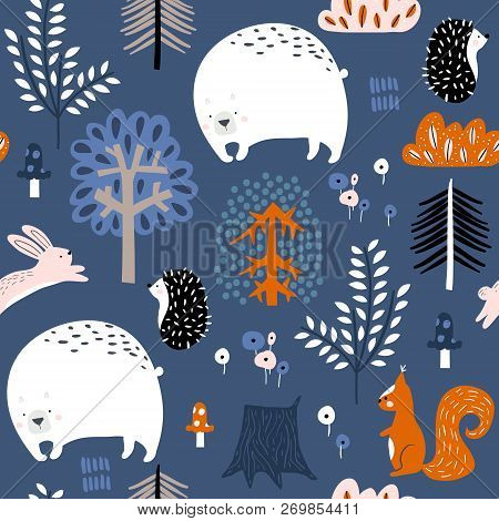 Seamless Childish Pattern With Bear, Squirrel, Hedgehog, Bunny In The Forest. Creative Kids Woodland