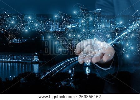 A Businesswoman Is Holding A Padlock On Her Arm Surrounded By Digital Wireless Connections At The Ni