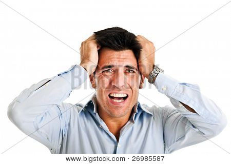 Portrait of a stressed businessman going crazy. Isolated on white.