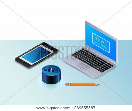 Smart Speaker For Smart Home Control. Modern Laptop, A Mobile Phone, Pencil. Intelligent Voice Activ