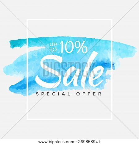 Winter Sale Banner. Vector Background. Calligraphy. Lettering. Vector Blue Illustration. Watercolor.