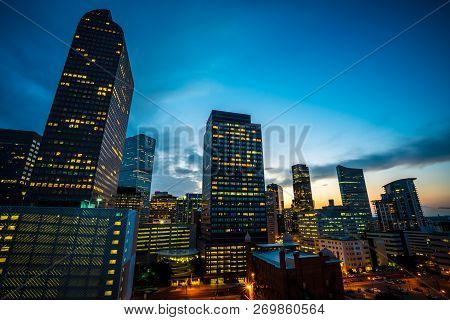 Blue Hour After Sun Down Nightscape Downtown Urban Skyscrapers Illuminated At Denver , Colorado , Us