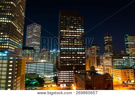Illuminated City At Night Cityscape At Blue Hour Nightscape Of Denver , Colorado , Usa Amazing Skies