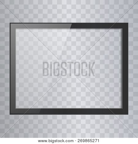 Empty Shiny Frame With Reflection And Transparency Screen Isolated. Lcd Monitor Vector Illustration.