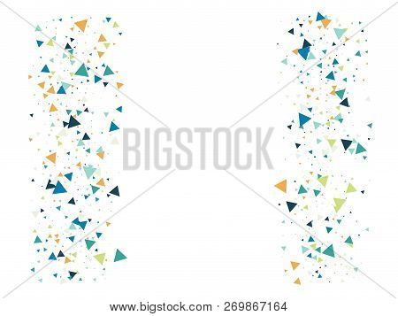 Star Blast, Glass Memphis Vector Frame. Triangle Fragmentation Particles Explosion Border Design. Br