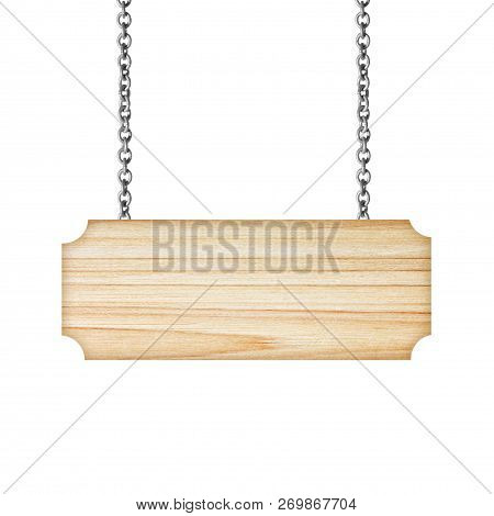 Wooden Sign Hanging On A Chain Isolated On White; Sign, Wooden, Advertisement, Isolated, Grain, Bill