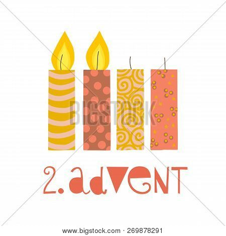 Two Burning Advent Candles Vector Illustration. Second Sunday In Advent. Zweiter Advent German Text.