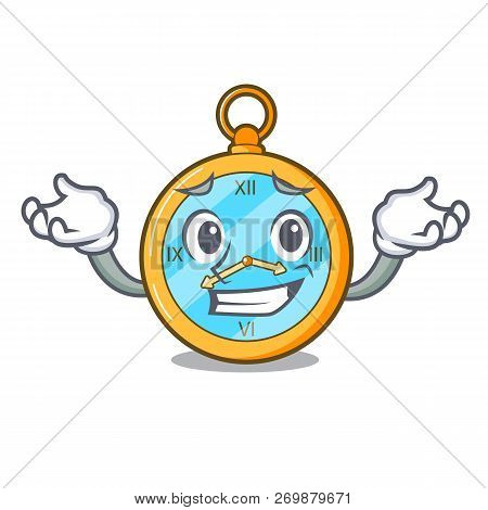 Grinning Classic Watch Isolated On A Mascot
