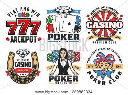 Casino Poker Gambling Game Icons. Vector Symbols Of Poker Ace Cards, Golden Horseshoe, Wheel Of Fort